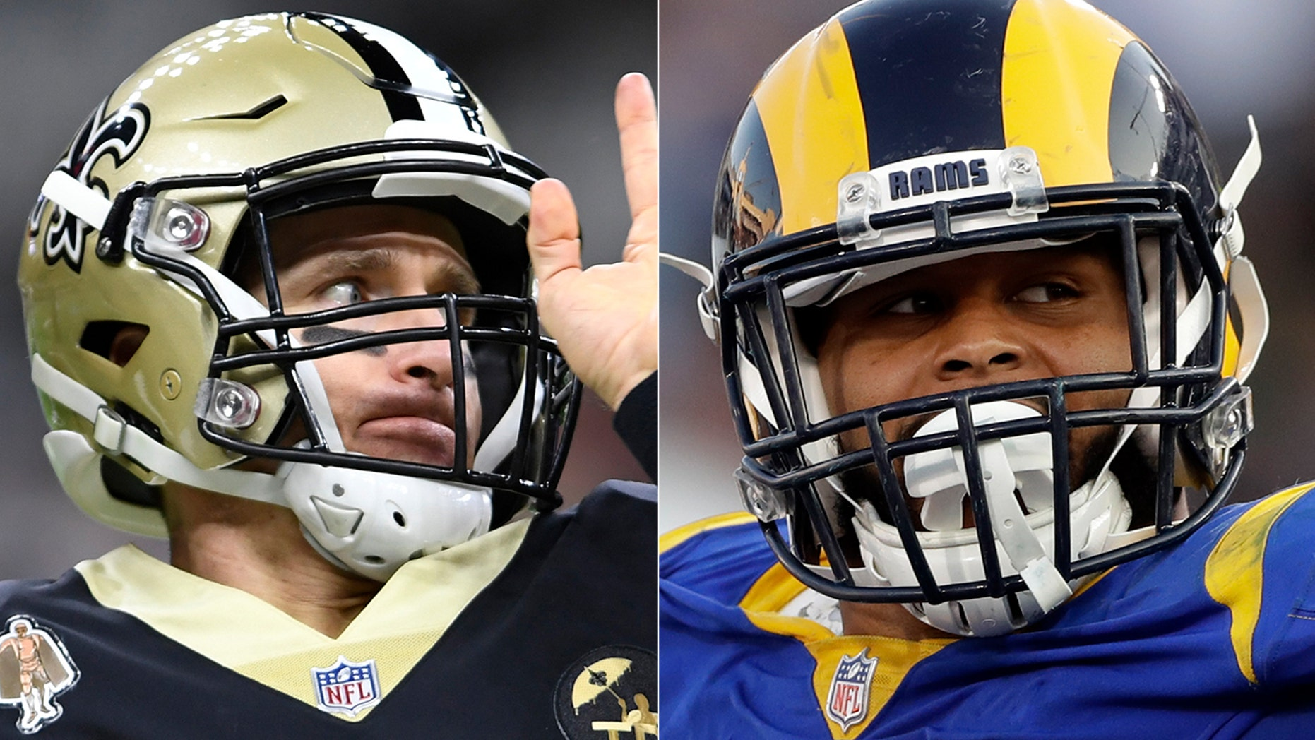 Drew Brees will have to avoid the Aaron Donald-led Rams defense in their matchup Sunday.
