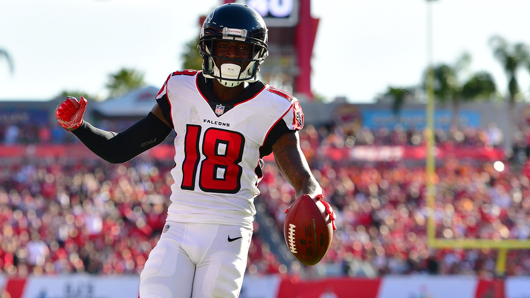 Calvin Ridley #18 of the Atlanta Falcons catches a 7-yard touchdown pass from Matt Ryan #2 during the fourth quarter against the Tampa Bay Buccaneers at Raymond James Stadium on December 30, 2018 in Tampa, Florida.