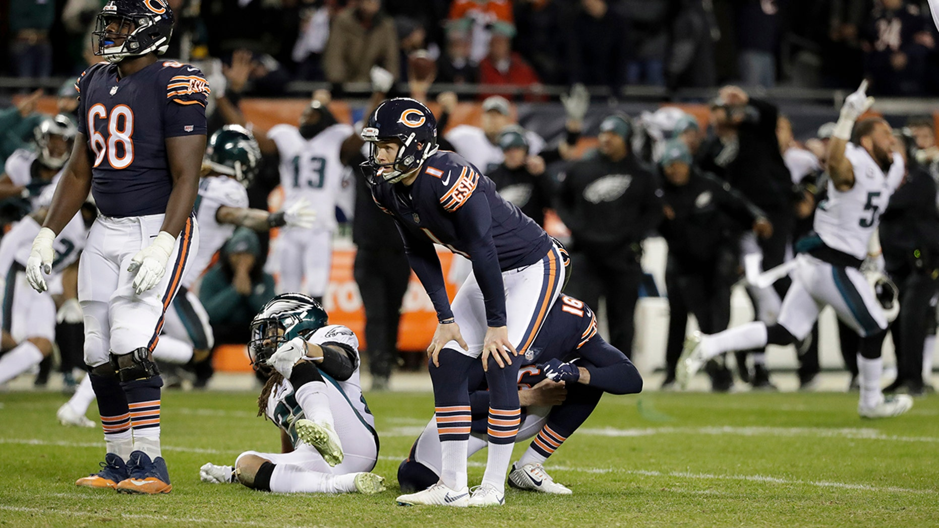 Chicago Bears kicker Cody Parkey (1) reacts after missing a field goal in the closing minute during the second half of an NFL wild-card playoff football game against the Philadelphia Eagles Sunday, Jan. 6, 2019, in Chicago. The Eagles won 16-15.
