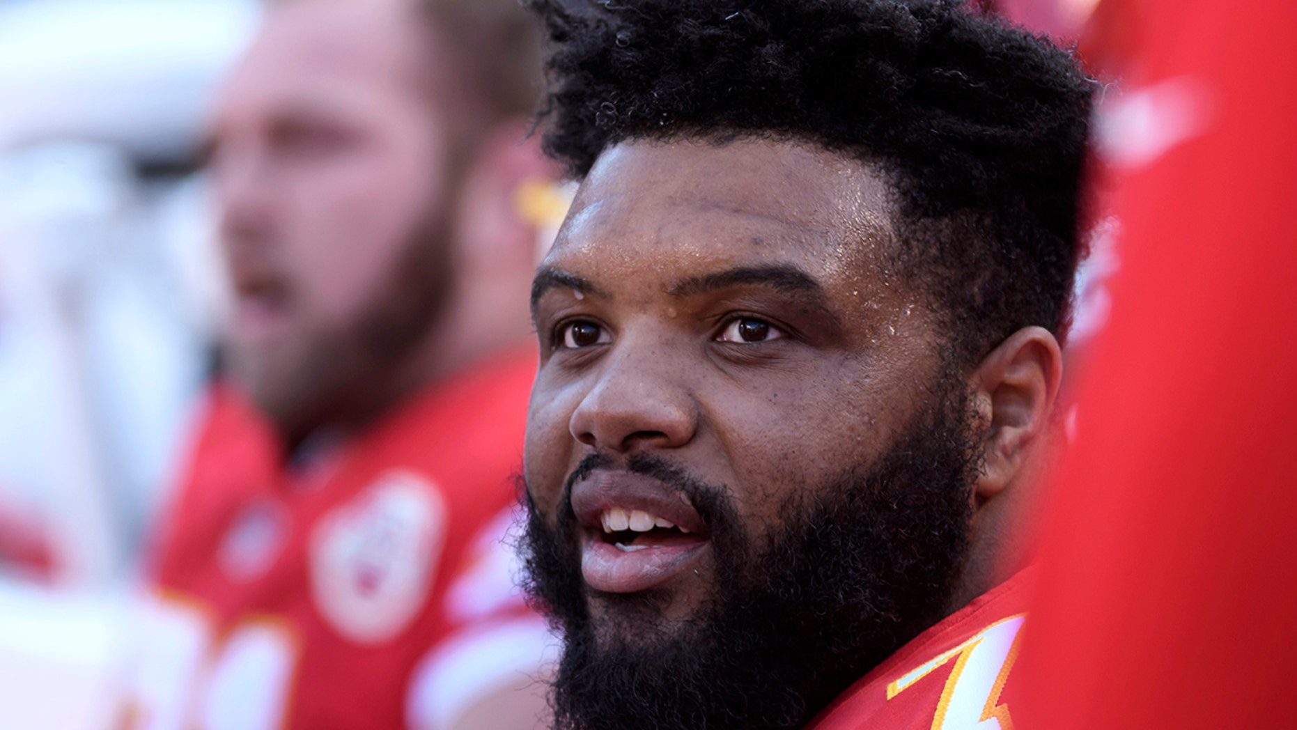 FILE - In this Dec. 9, 2018, file photo, Kansas City Chiefs offensive tackle Jeff Allen during the first half of an NFL football game in Kansas City, Mo.