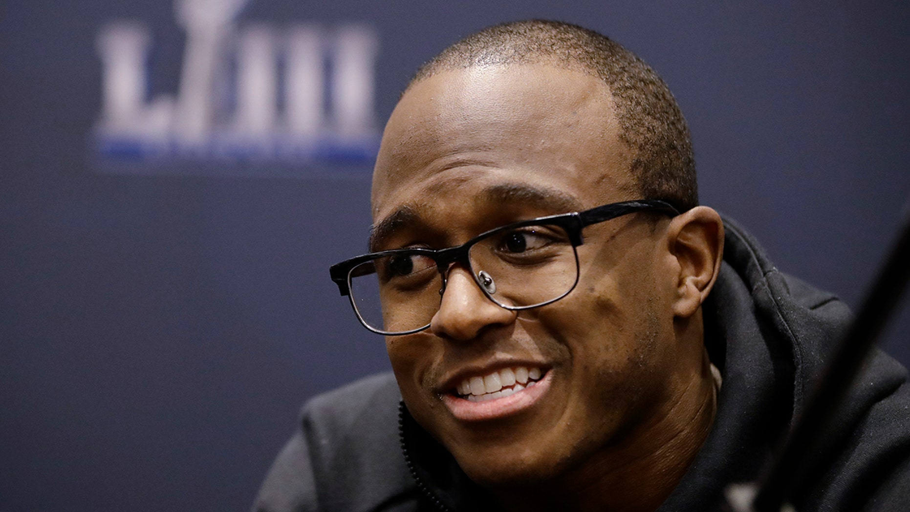 New England Patriots' Matthew Slater speaks with members of the media during a news conference Tuesday, Jan. 29, 2019, ahead of the NFL Super Bowl LIII game against the Los Angeles Rams in Atlanta.