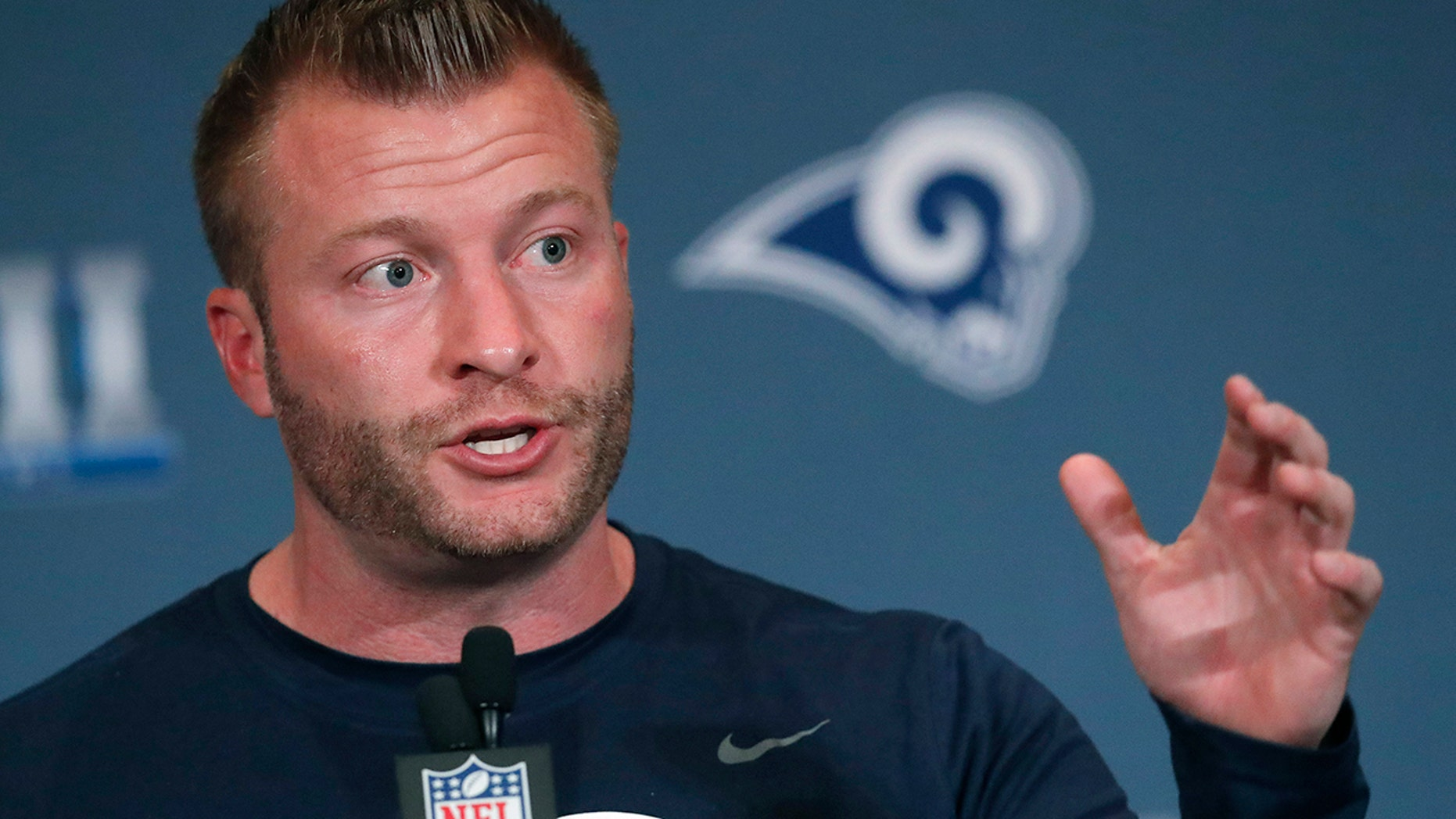 Los Angeles Rams head coach Sean McVay speaks during a news conference Tuesday, Jan. 29, 2019, in Atlanta, ahead of the NFL Super Bowl 53 football game.