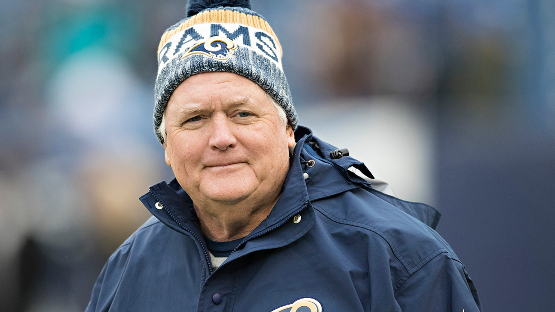Defensive coordinator Wade Phillips of the Los Angeles Rams walks onto the field before a game against the Tennessee Titans at Nissan Stadium on Dec. 24, 2017 in Nashville, Tennessee. The Rams defeated the Titans 27-23.