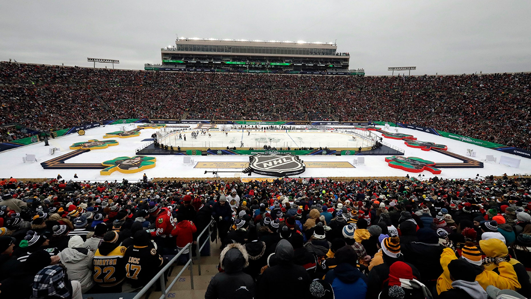 A general view of Notre Dame Stadium is seen in the second period of the NHL Winter Classic hockey game between the Boston Bruins and the Chicago Blackhawks, Tuesday, Jan. 1, 2019, in South Bend, Ind.