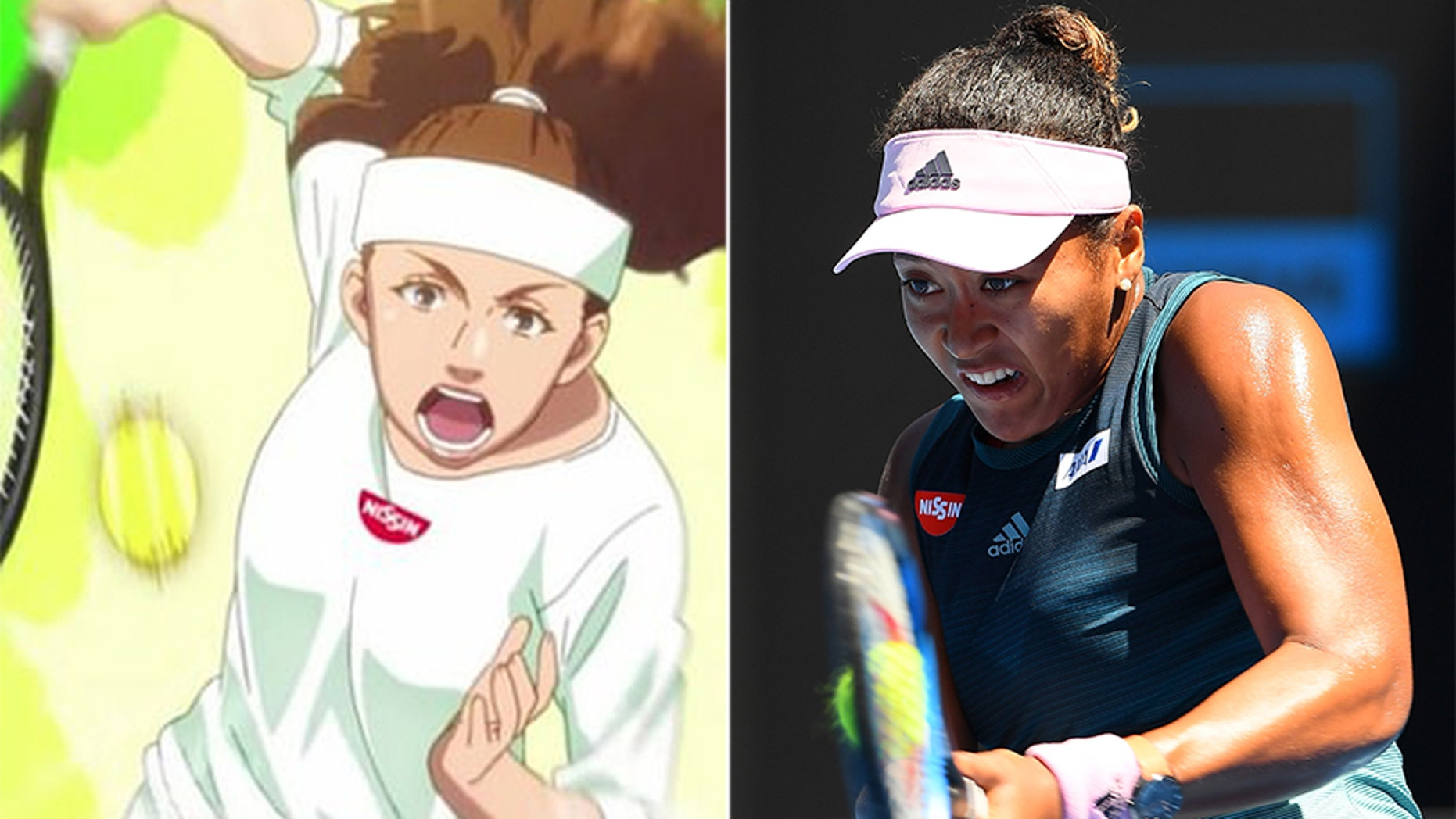 A Naomi Osaka anime character appeared in a Nissin ad.