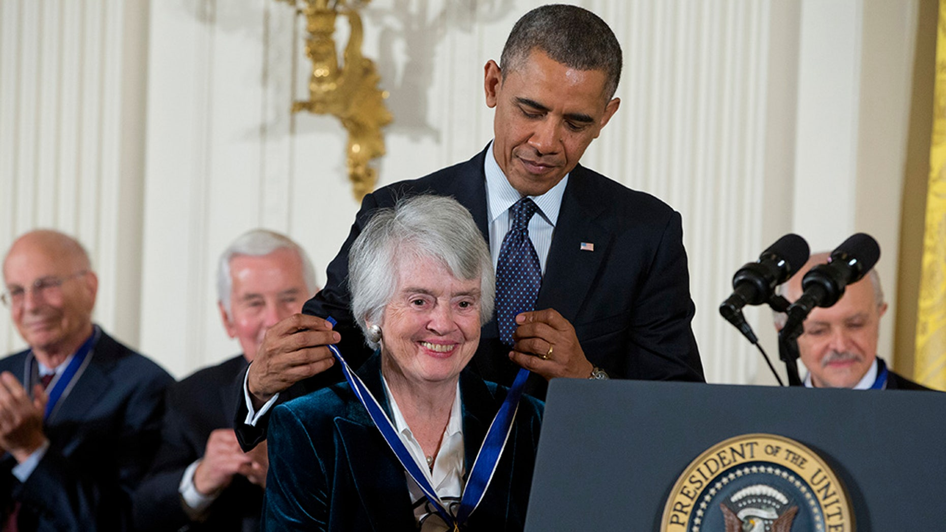 Judge Patricia Wald has died of pancreatic cancer at the age of 90. She is seen here receiving the Presidential Medal of Freedom from President Barack Obama in 2013