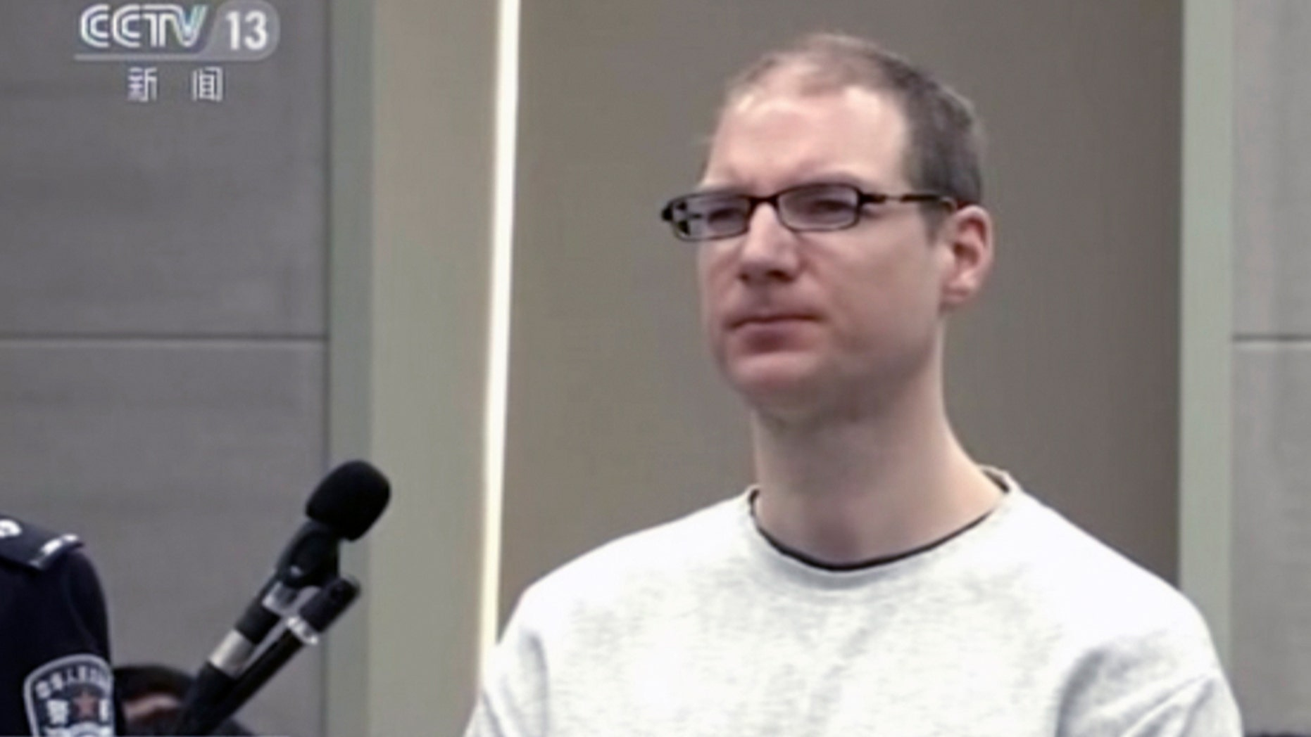 A Chinese court in northeastern Liaoning province announced Monday that it had sentenced Robert Lloyd Schellenberg to death, reversing an earlier 2016 ruling that sentenced him to 15 years in prison.(CCTV via AP)