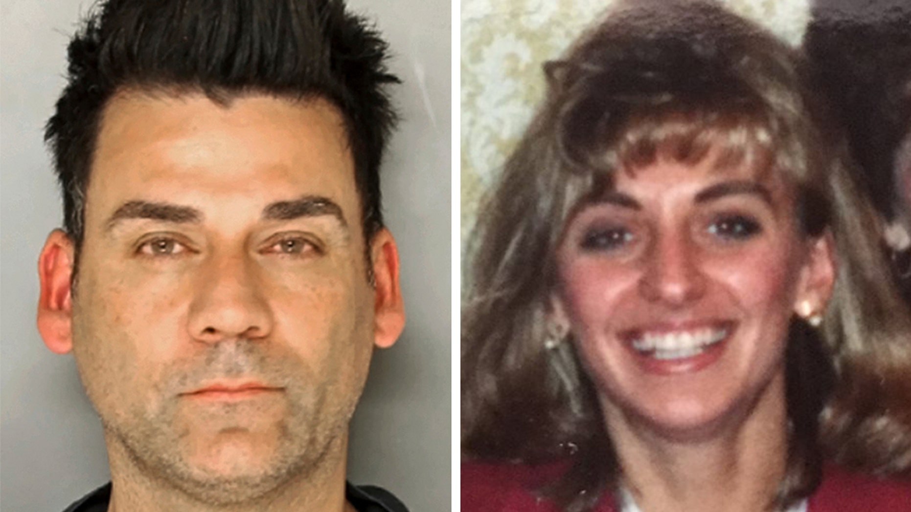 June 25, 2018, photo provided by the Lancaster County District Attorney's Office shows Raymond Charles Rowe, of Lancaster, Pennyslvania, a disc jockey found guilty of criminal homicide in the 1992 strangulation death of schoolteacher Christy Mirack (R).