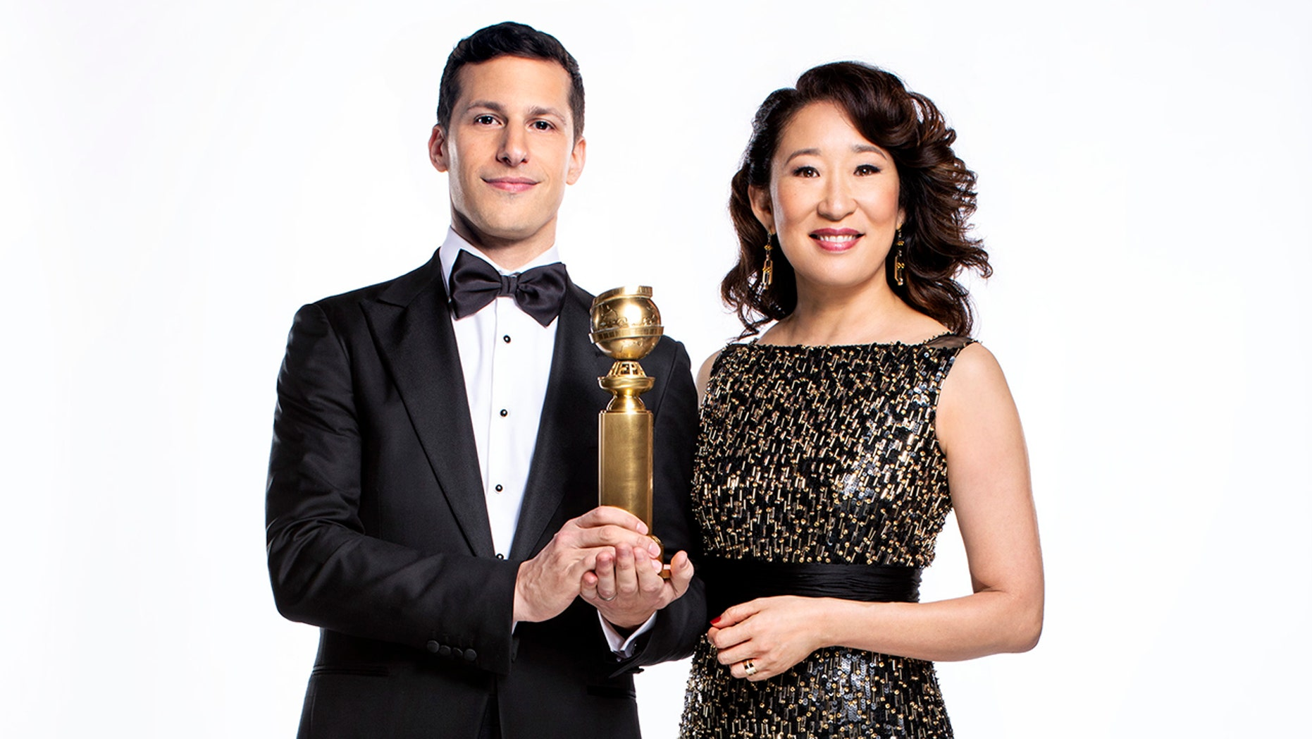 Sandra Oh, Andy Samberg want lighter tone at Golden Globes