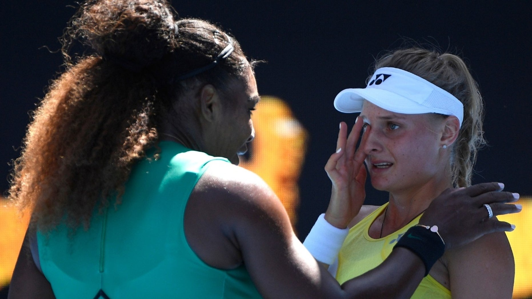 Serena Williams is seen comforting her opponent, Dayana Yastremska, after her game on Saturday, January 19, 209.
