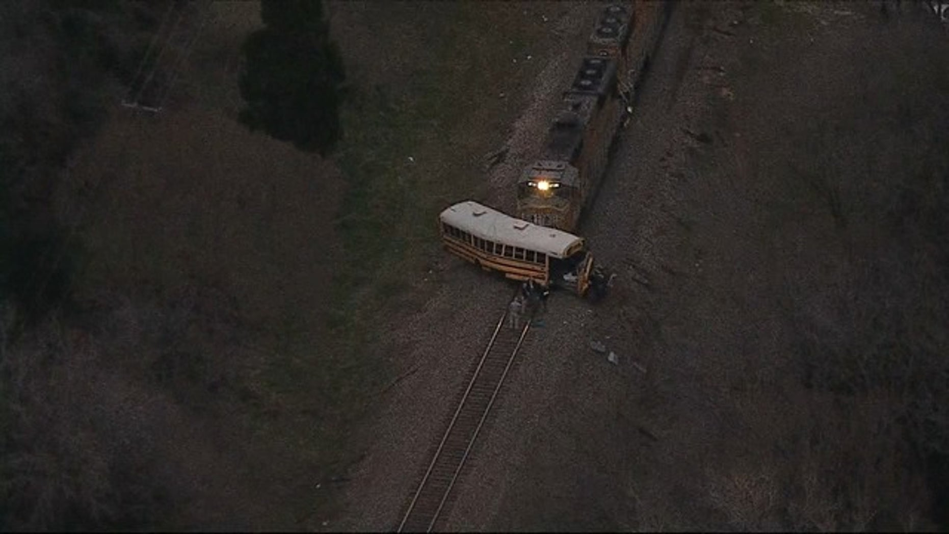 One high school student was killed and two injured after the train hit a school bus on Friday in Athens, Texas. (FOX 4 Dallas-Fort Worth)