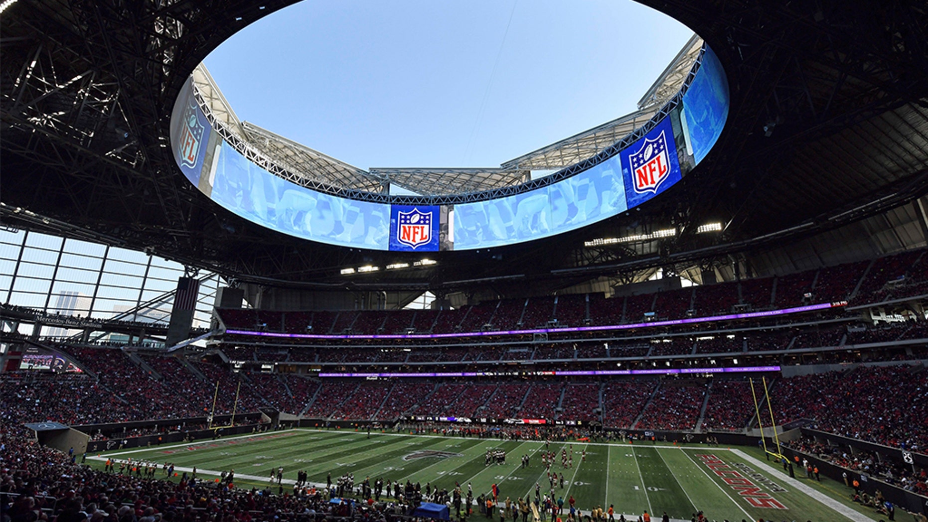 Super Bowl LIII will play at the Mercedes-Benz stadium in Atlanta. (AP Photo/Danny Karnik)