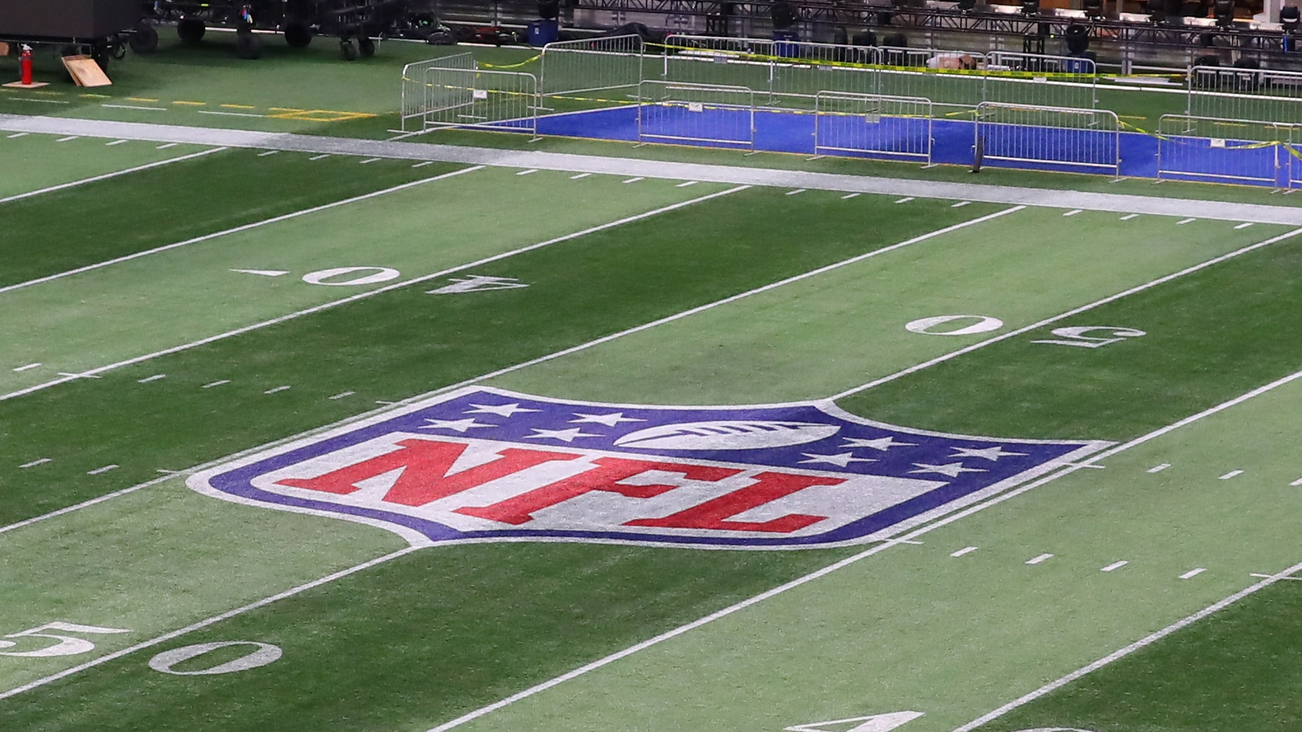The National Football League logo on the Field inside Mercedes Benz Stadium during Super Bowl LIII week on January 28, 2019, in Atlanta, GA. (Photo by Rich Graessle/Icon Sportswire via Getty Images)