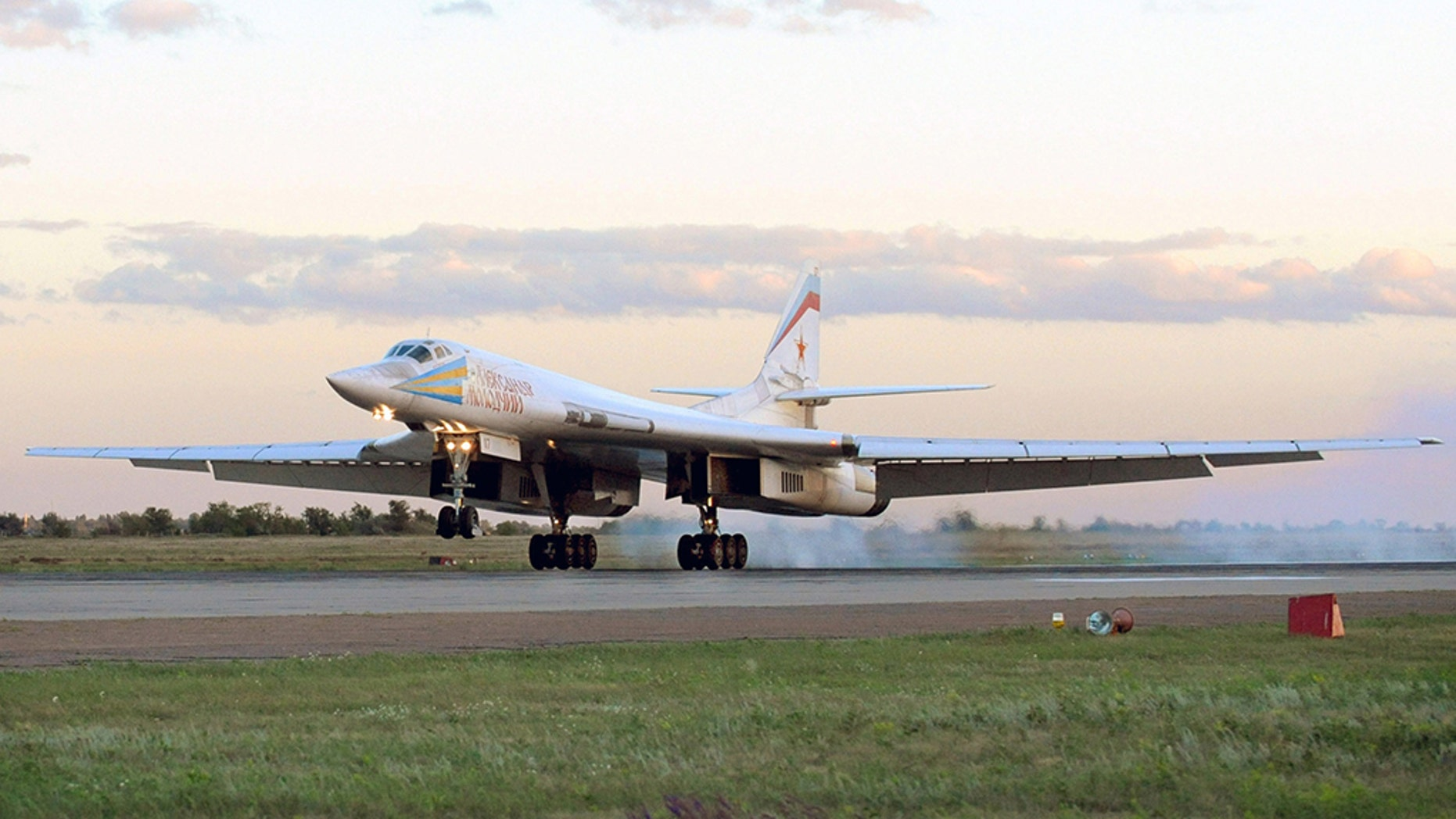 A Tu-160 bomber lands in 2008 at a Russian Air Force base. (Photo by Wojtek Laski / Getty Images)