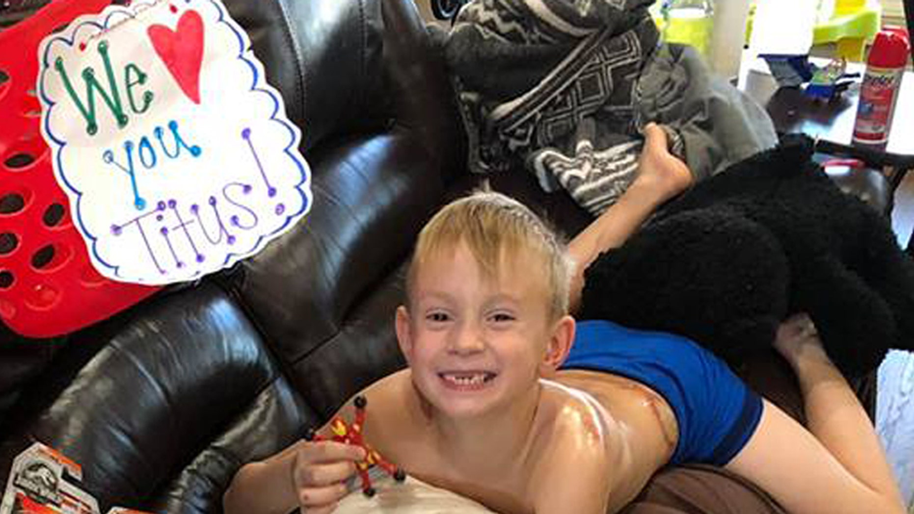 Titus Everett, 6, of Conway, Arkansas, survived after being struck and crushed by a mid-size SUV in the parking lot Sunday after church. His parents are thankful to the community and God for helping save his life.