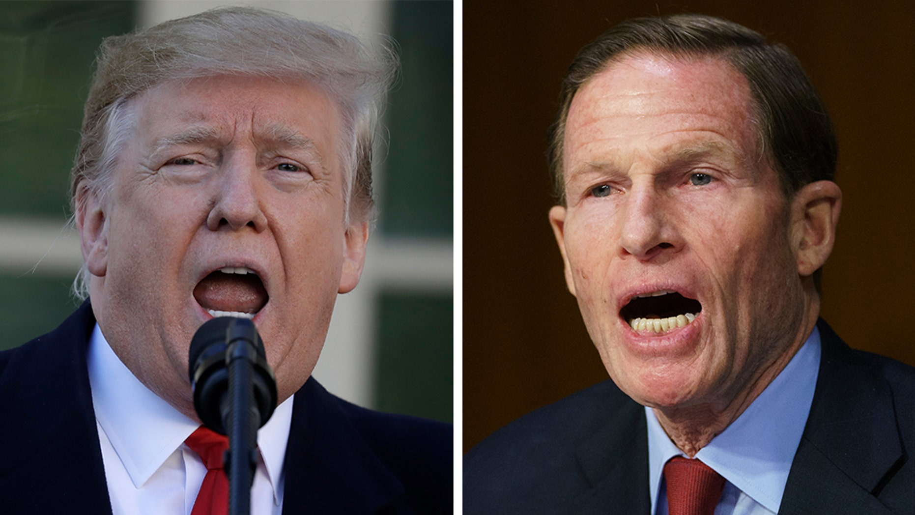 President Trump aimed in a tweet on Monday at Sen. Richard Blumenthal, D-Conn. Ab.