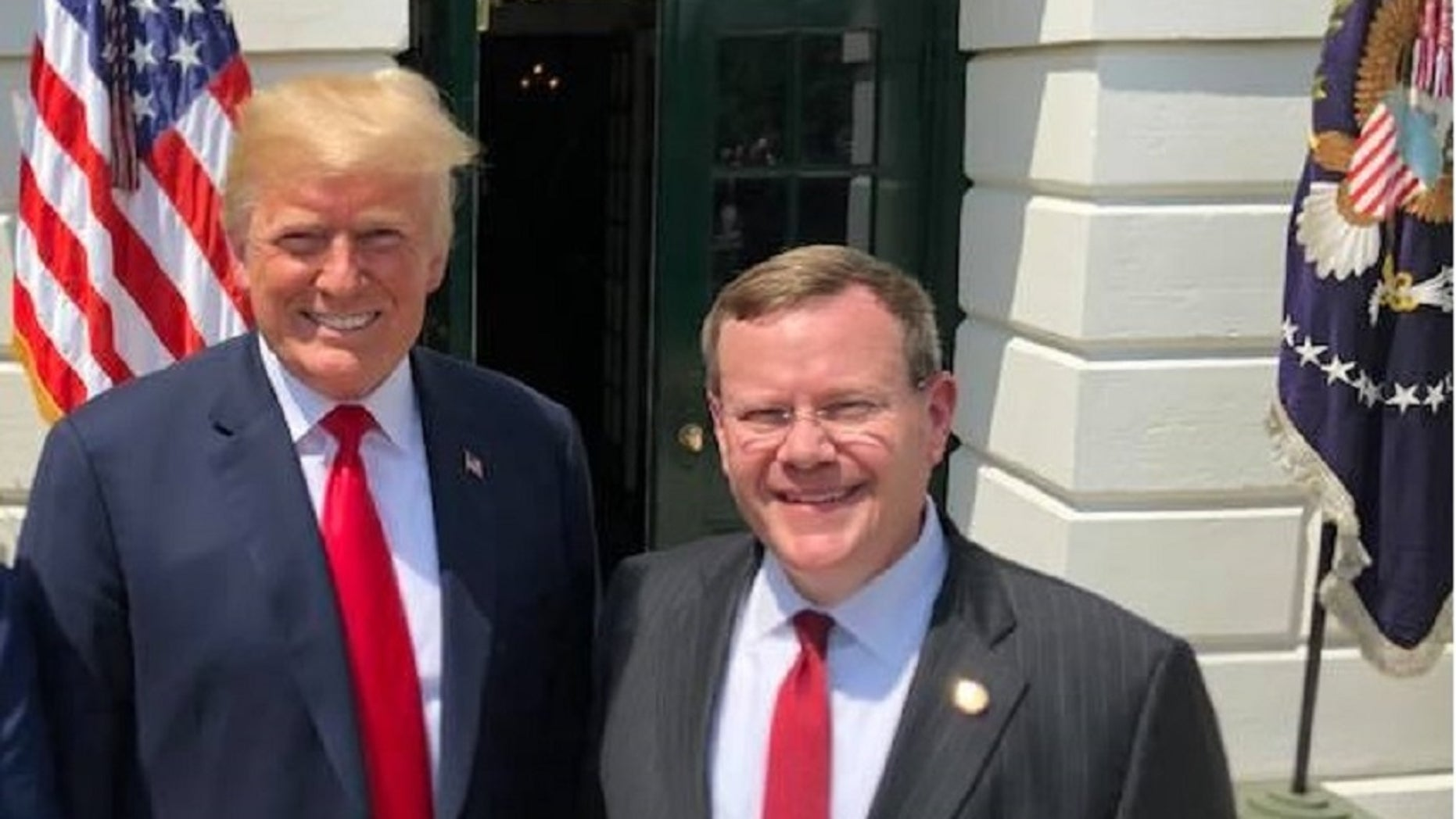 North CarolinaHouse Speaker Tim Moore, shown with President Trump in an undated photo, became the latest state lawmaker to invite the president to deliver his State of the Union address away from Washington, D.C. (State Rep.Tim Moore)