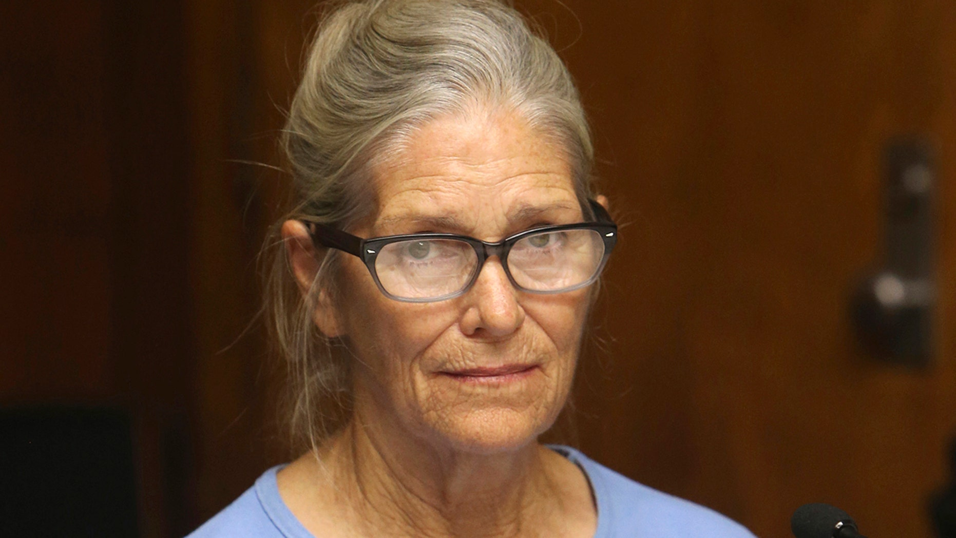 Leslie Van Houten takes part in a password hearing at the California Women's Office in Corona, California, September 6, 2017. (Associated Press)