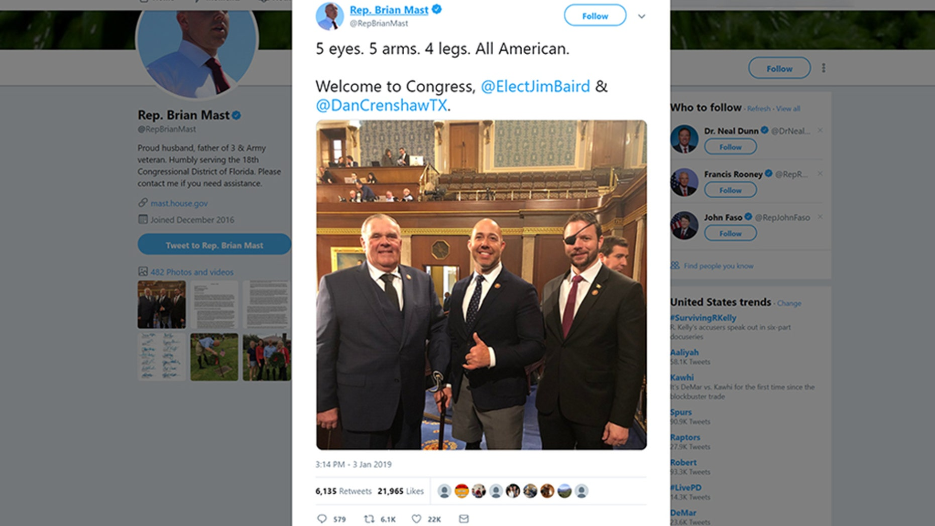On the first day of the new Congress, three wounded veterans celebrated with a tweet at their swearing-in ceremony.