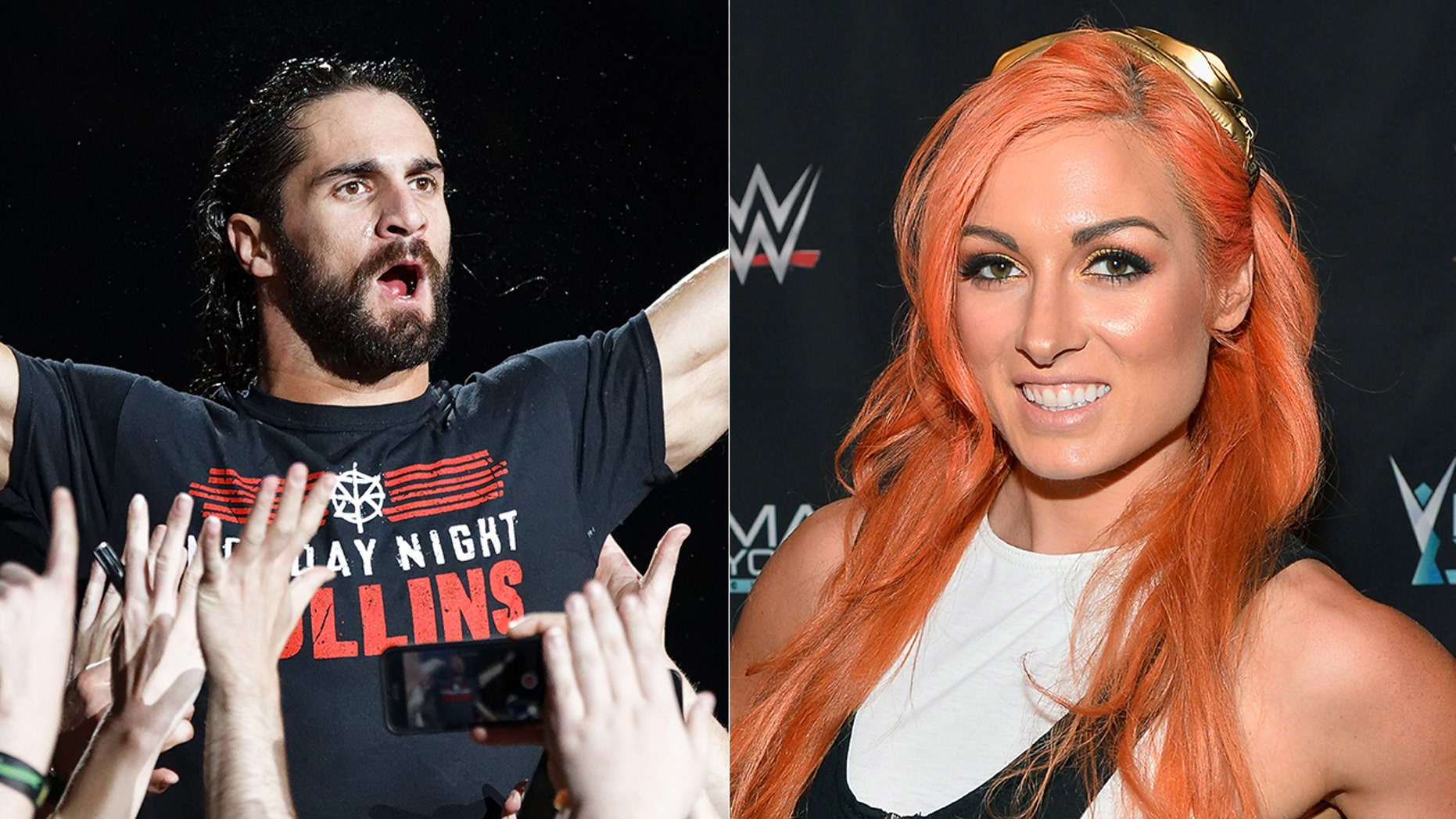 Seth Rollins, left, and Becky Lynch both won their Royal Rumble matches.
