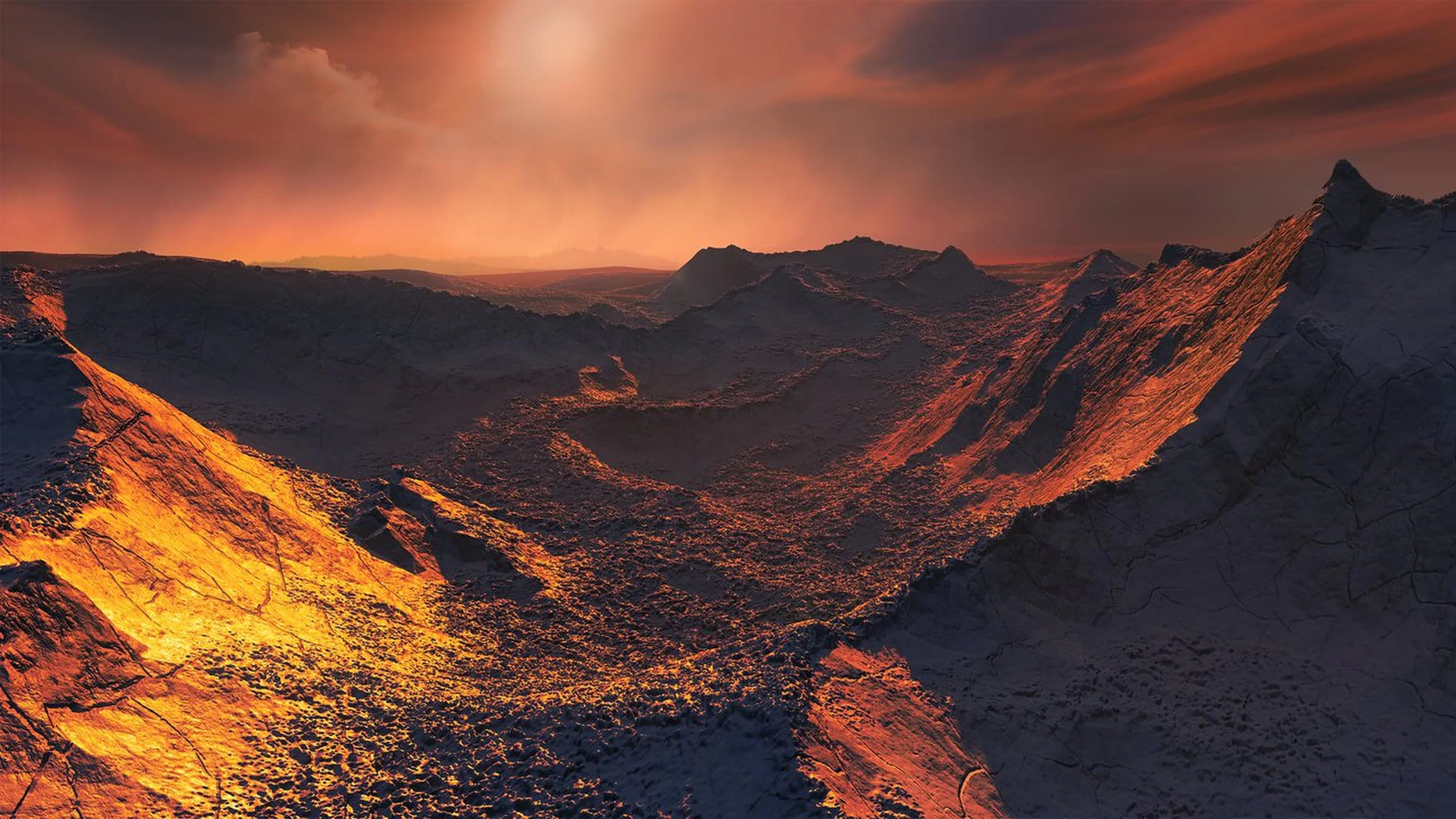 An artist's depiction of the freezing surface of Barnard's Star b. (Credit: M. Kornmesser/ESO)