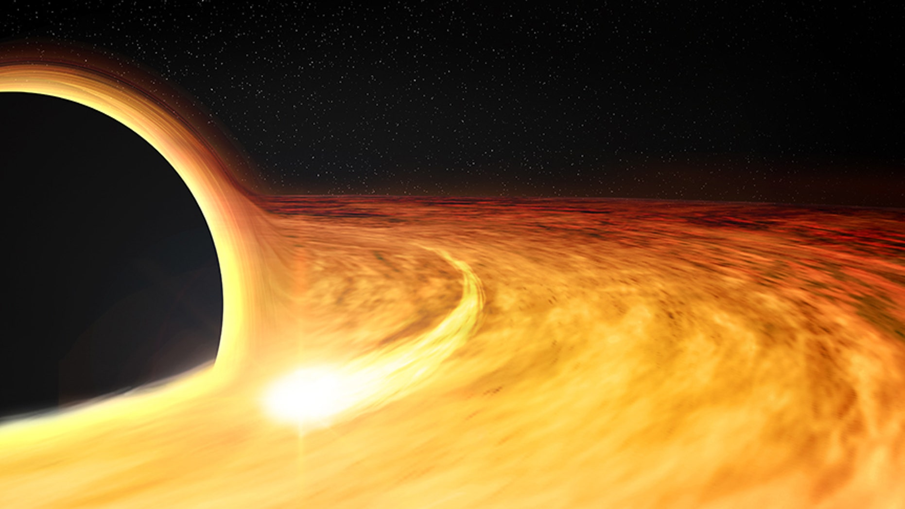 "This artist's illustration shows the region around a supermassive black hole after a star wandered too close and was ripped apart. Some of the remains of the star are pulled into an X-ray-bright disk where they circle the black hole before passing over the ""event horizon,"" the boundary beyond which nothing, including light, can escape. The elongated spot depicts a bright region in the disk, which causes a regular variation in the X-ray brightness of the source, allowing the spin rate of the black hole to be estimated."