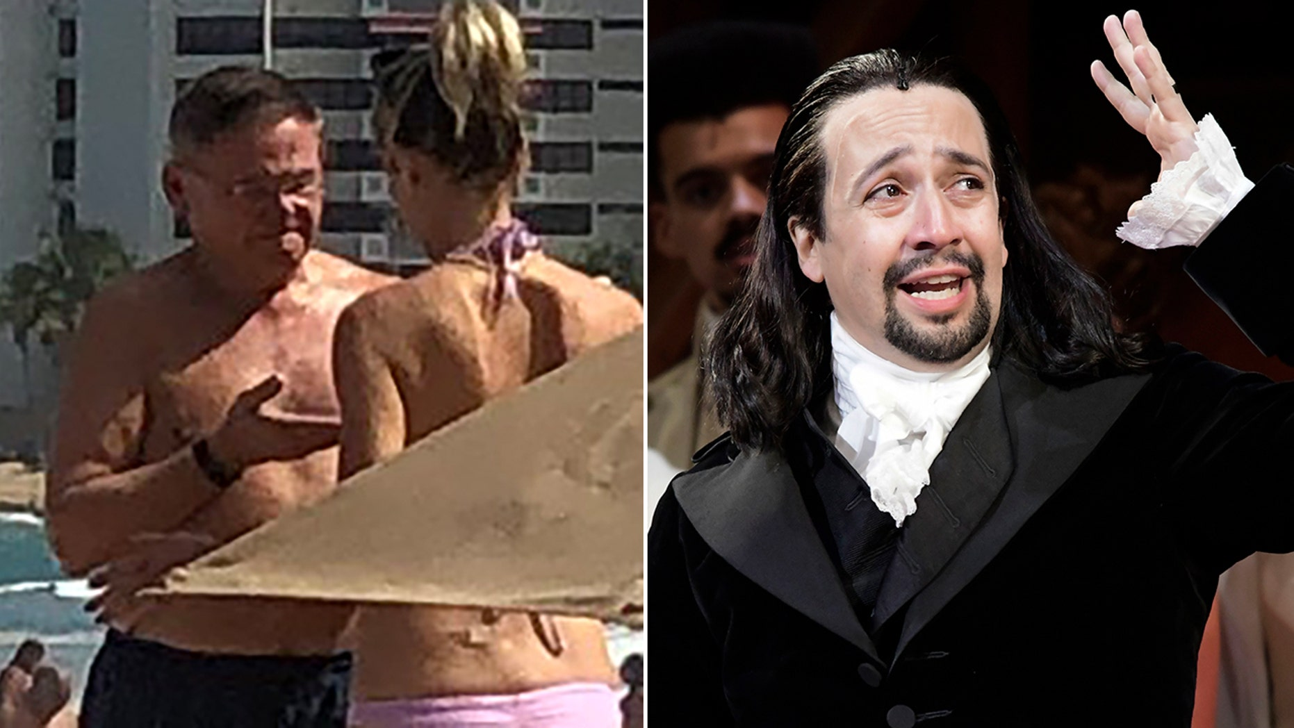 "U.S. Sen. Bob Menendez, D-N.J., left, was spotted on the beach Saturday in Puerto Rico, where some 30 Democrats gathered amid the partial government shutdown to meet with lobbyists and see the play ""Hamilton,"" starring Lin-Manuel Miranda, right. The woman with Menendez was not identified. (David McAlpine, Fox News/Associated Press)"