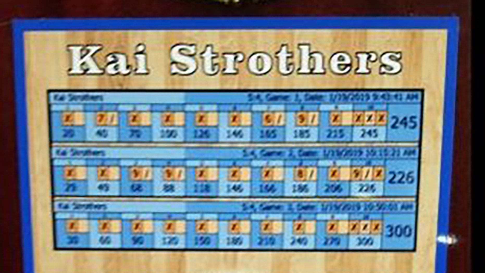 A scorecard shows the perfect 300 game that Kai Strothers, 10, recently rolled in New Jersey. (Facebook)