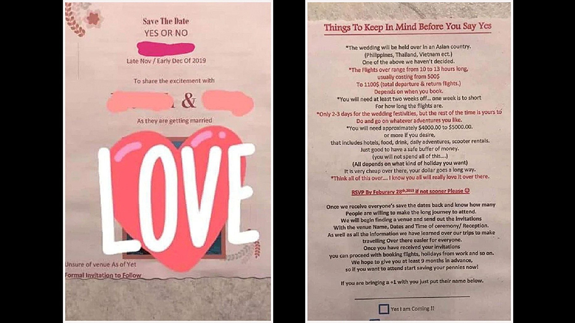 A bride is being slammed online for her two-page prolonged save-the-date.
