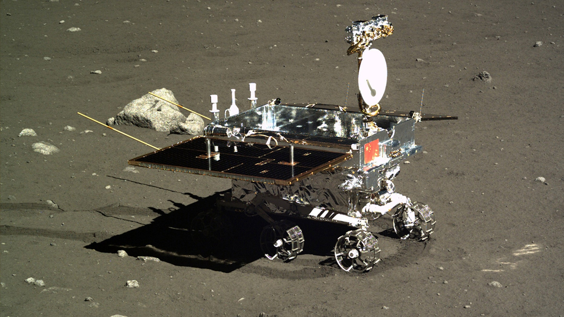 BEIJING, May 21, 2018 -- Photo taken by the landform camera on the Chang'e-3 moon lander on Dec. 16, 2013 shows the Yutu moon rover during Chang'e-3 lunar probe mission's first lunar day circle. (Xinhua via Getty Images)