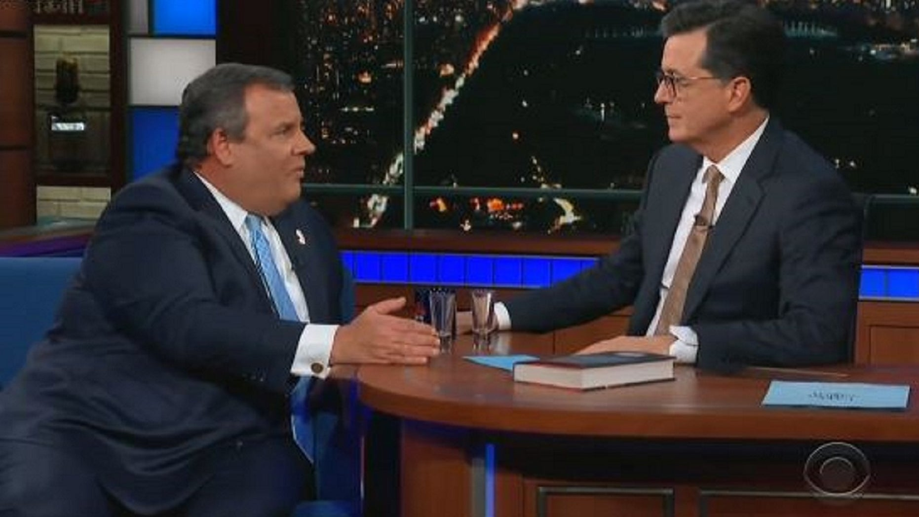 Chris Christie criticizes Trump with Stephen Colbert over tequila