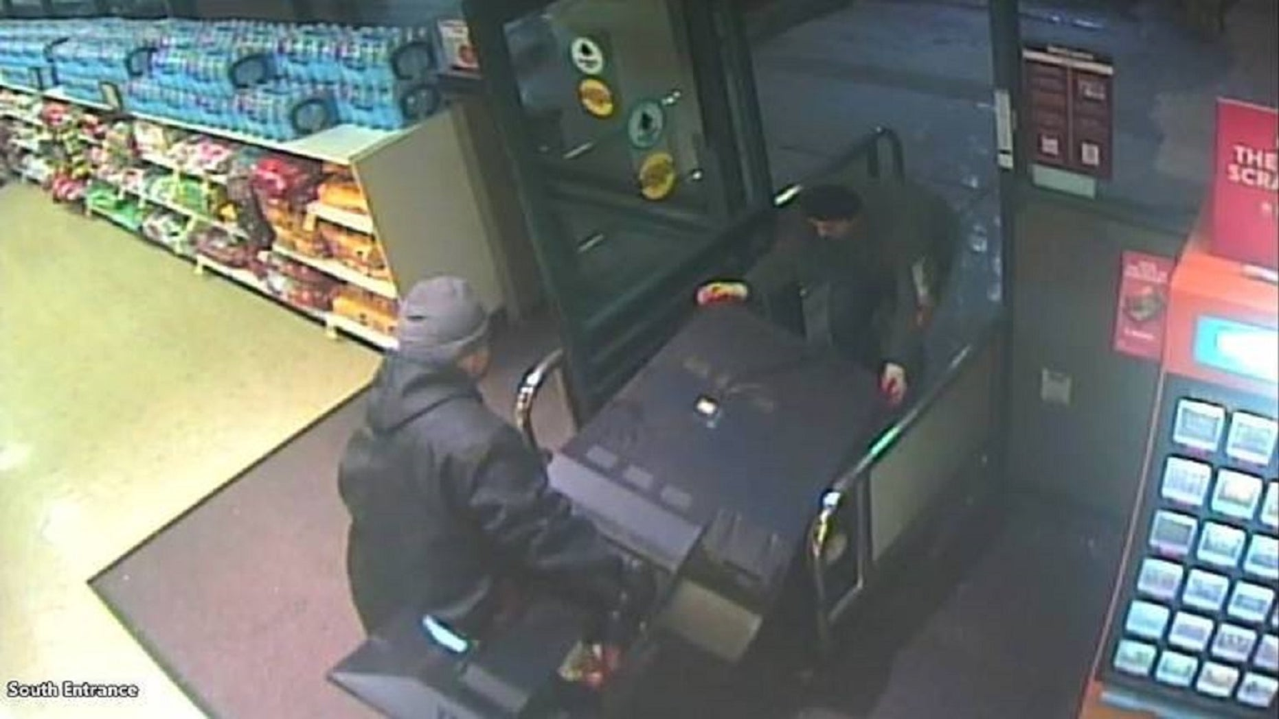 A security camera caught two men stealing a California State Lottery kiosk from a Safeway grocery store last week.