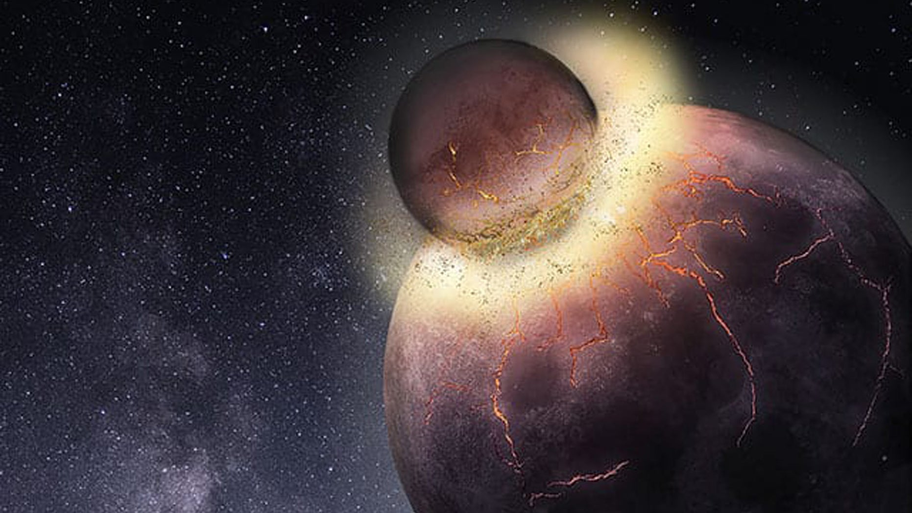 Rice University petrologists have found Earth most likely received the bulk of its carbon, nitrogen and other life-essential volatile elements from the planetary collision that created the moon more than 4.4 billion years ago. (Credit: Rice University)