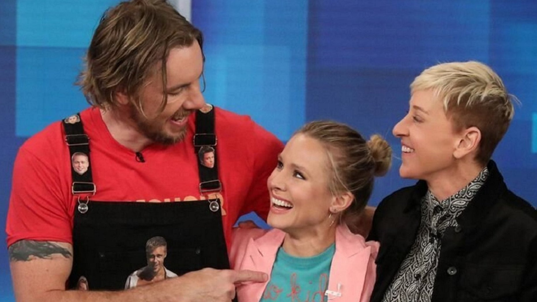 """Kristin Bell surprises Dax Shepard on his birthday during an appearance on """"The Ellen Show"""" on Thursday."""