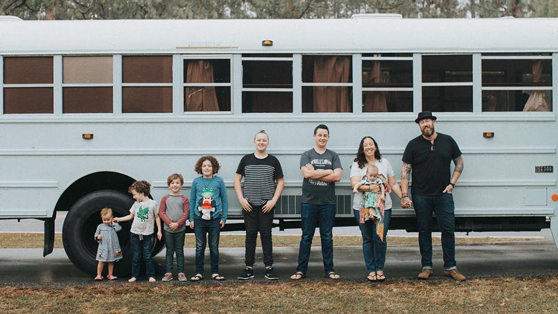 A family of nine from Florida converted a school bus into an RV and travel the country.