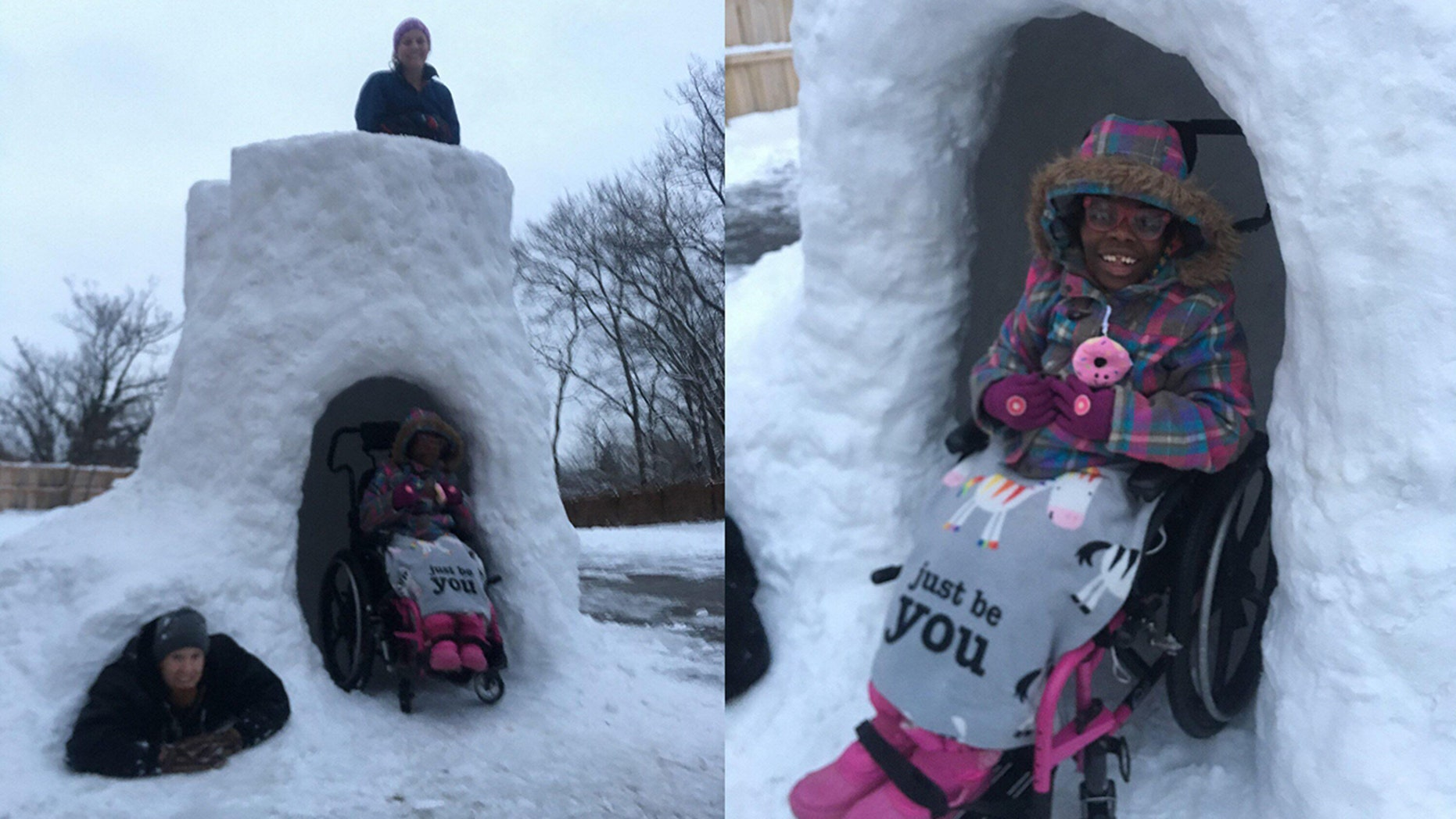 An Ohio dad is going viral for building a giant handicap-accessible snow fort for his kids.