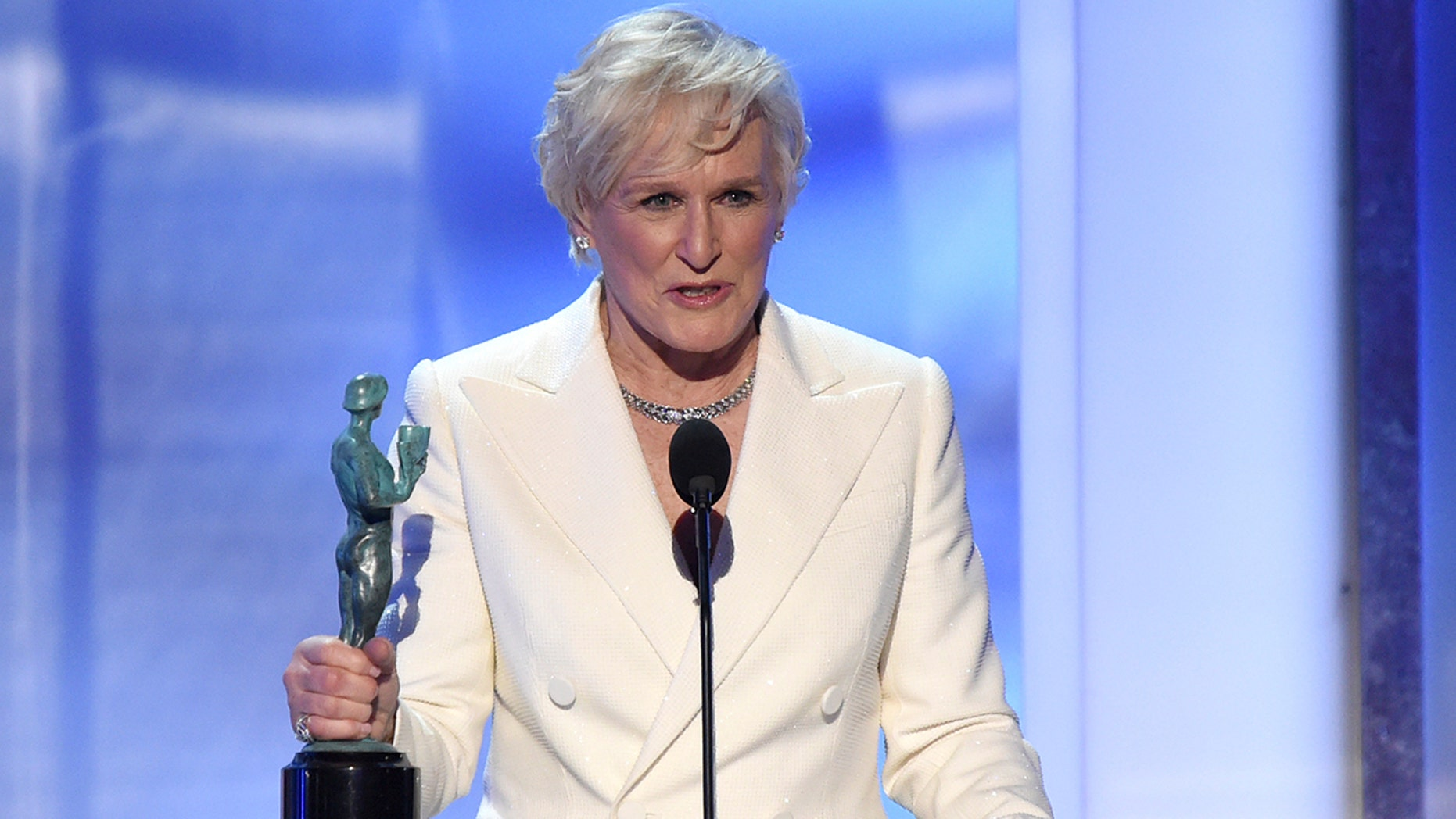 """Glenn Close accepts the award for outstanding performance by a female actor in a leading role for """"The Wife"""" at the 25th annual Screen Actors Guild Awards."""