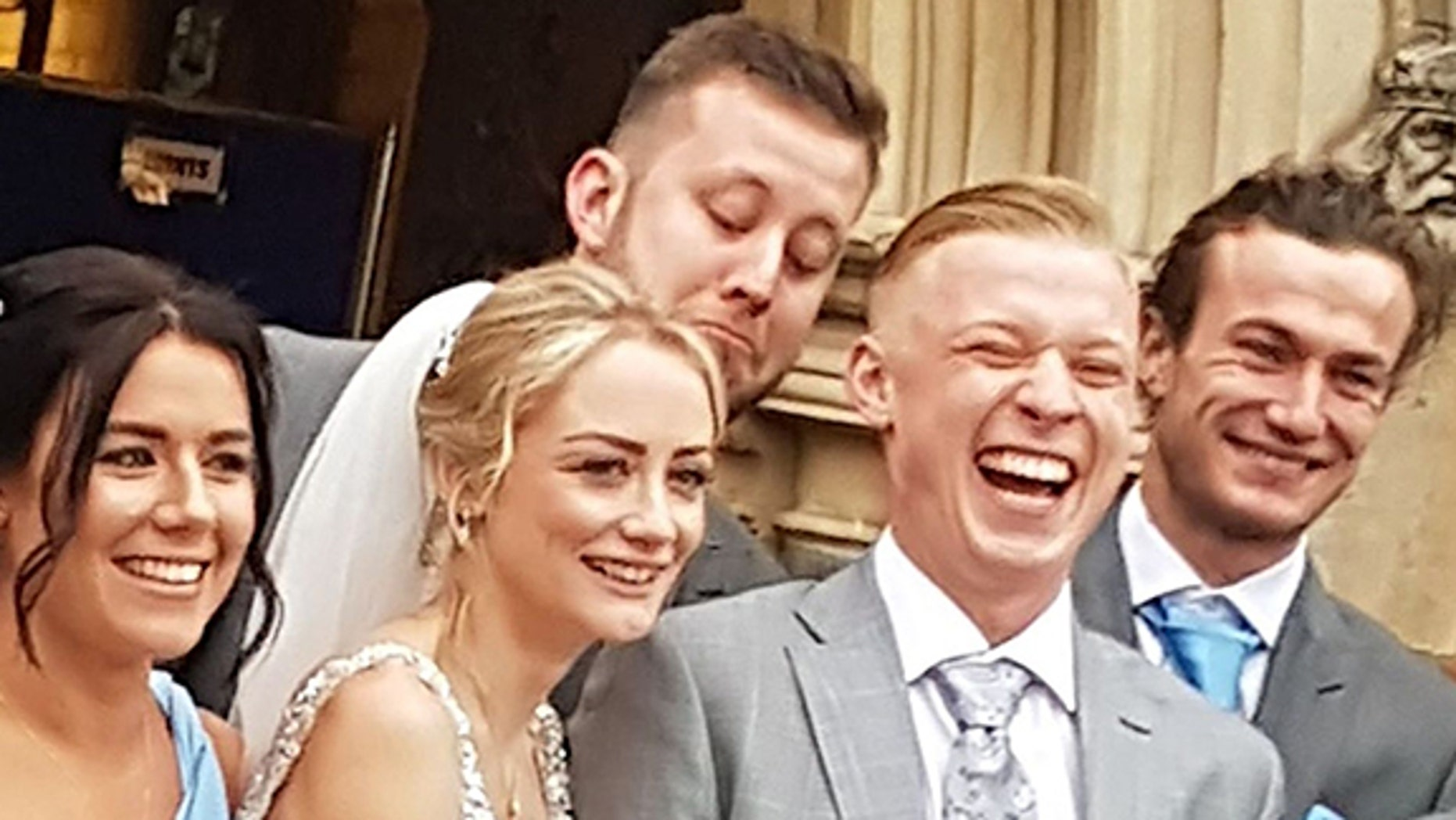 Andy Wills claims he decided to pull a prank on the groom when he saw a friend taking photos nearby.