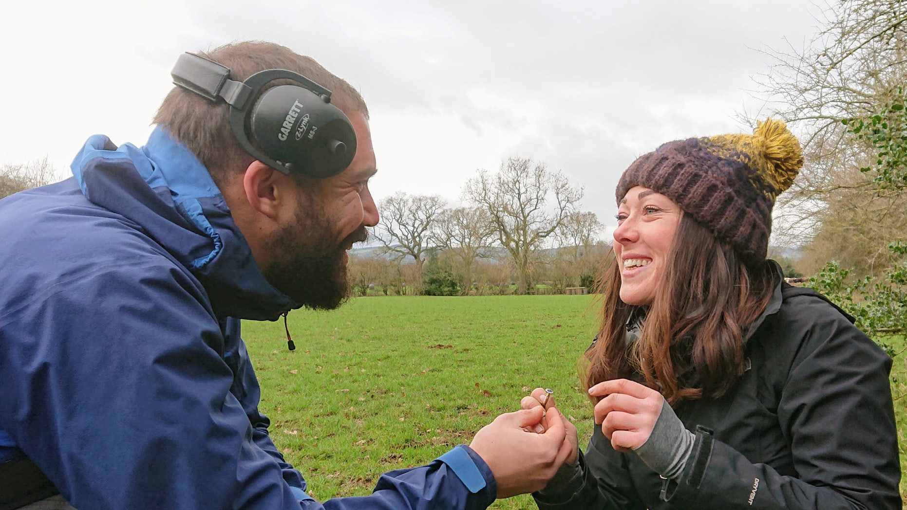 Jamille Swainson proposed to girlfriend Harriet Haseler after arranging for her to find the ring during an outing in Shropshire, England.