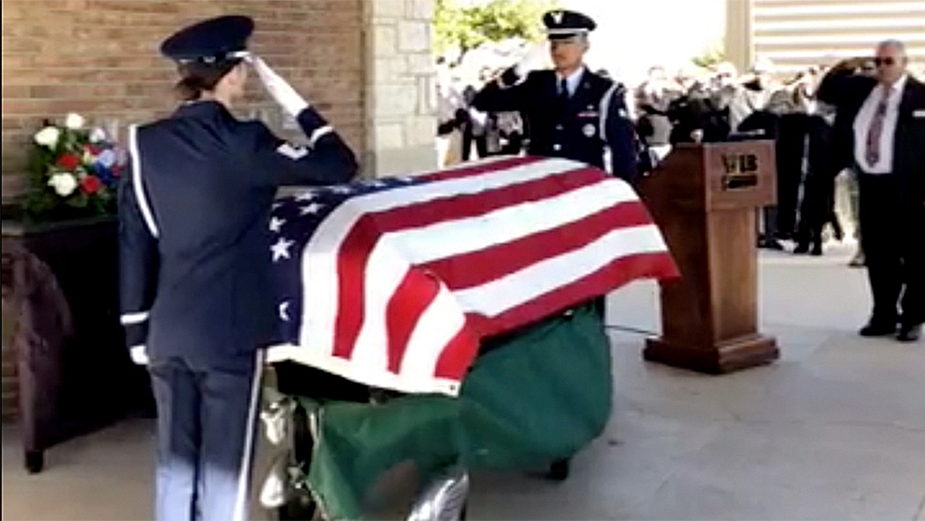 The funeral for Air Force veteran Joseph Walker in Texas Monday drew thousands of people who responded to an appeal for mourners.