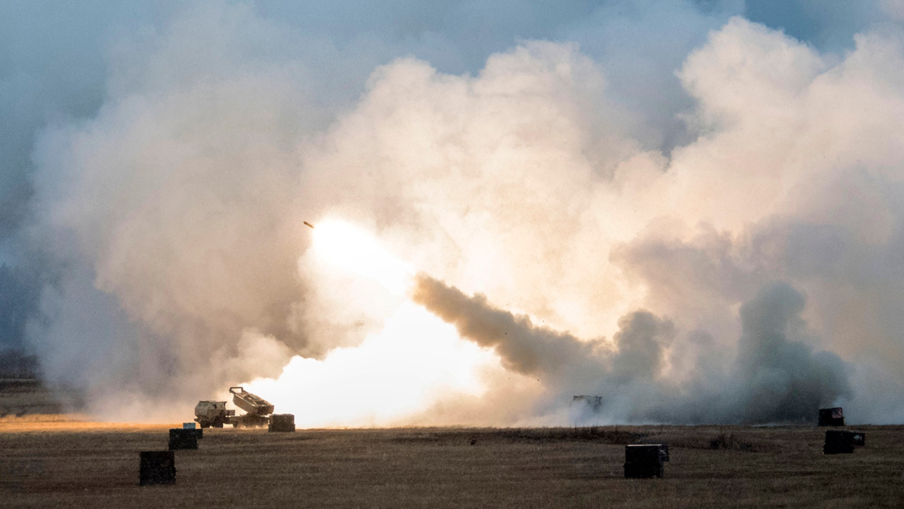 U.S. Army Soldiers fire a M142 High Mobility Artillery Rocket System at Fort Greely in Alaska in October.