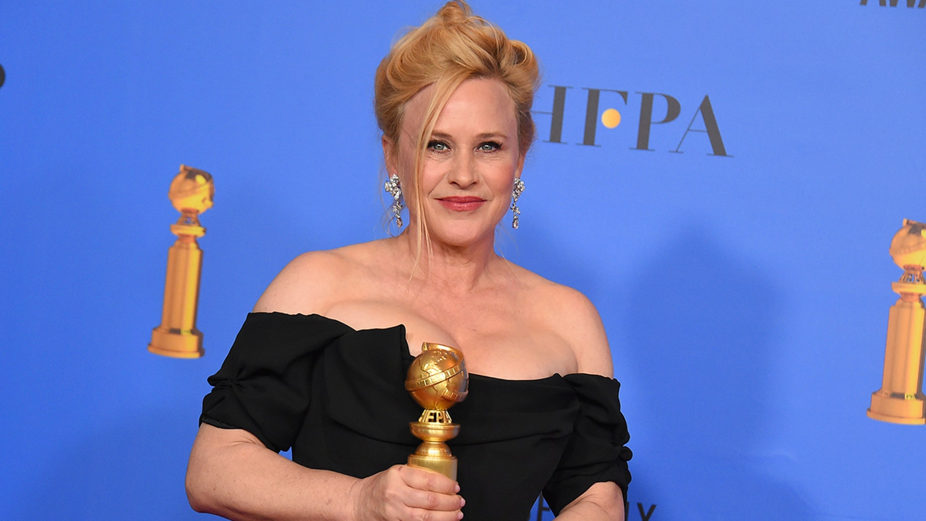 """Patricia Arquette poses in the press room with the award for best performance by an actress in a limited series or a motion picture made for television for """"Escape at Dannemora"""" at the 76th annual Golden Globe Awards at the Beverly Hilton Hotel on Sunday, Jan. 6, 2019, in Beverly Hills, Calif. (Photo by Jordan Strauss/Invision/AP)"""