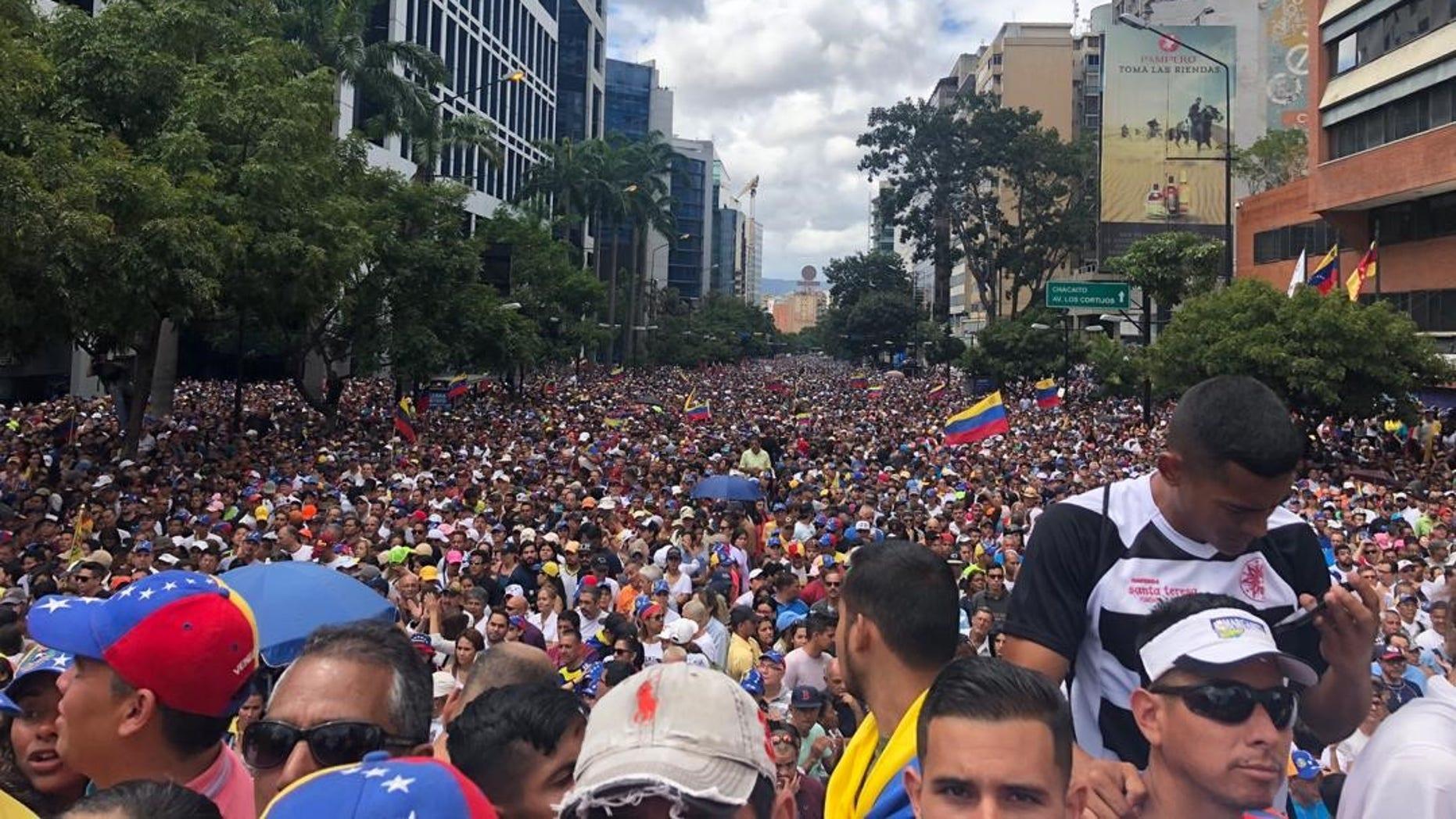 Protests against the Nicolas Maduro regime in Caracas Venezuela on Wednesday Jan 23 2019