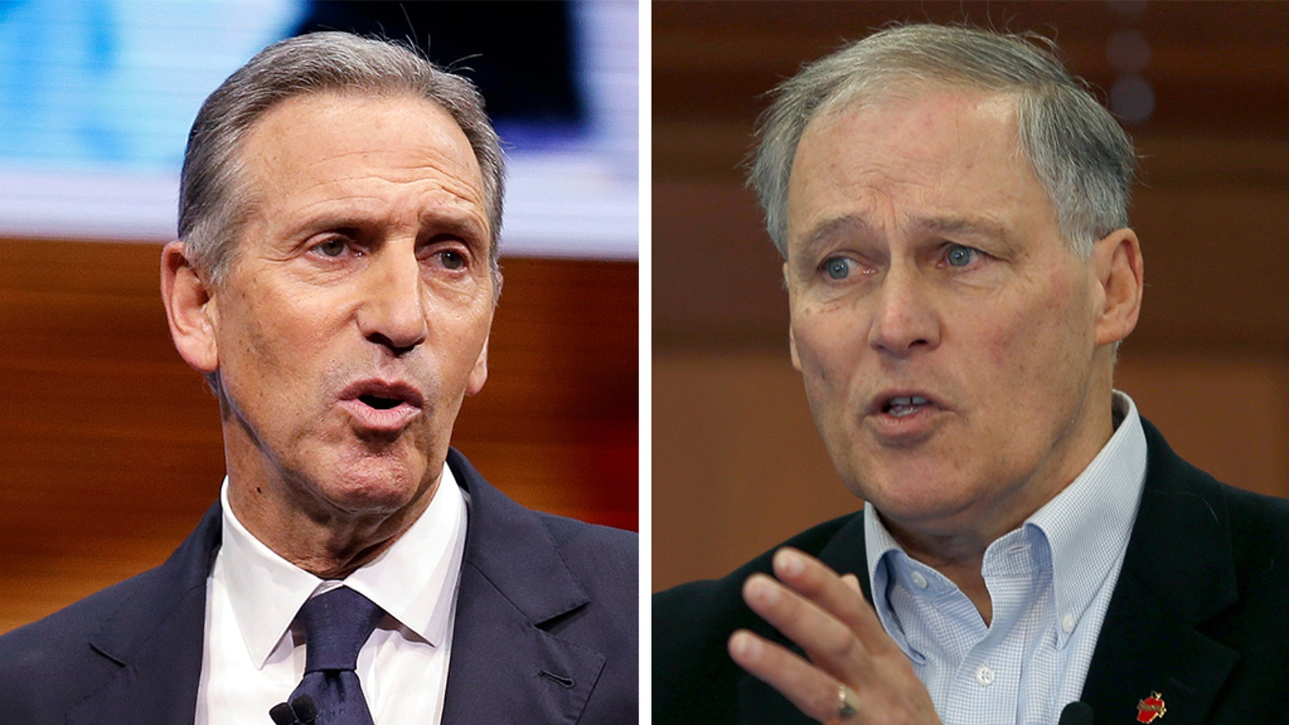 Washington Gov. Jay Inslee, right, is the latest Democrat to oppose the prospective presidential bid of former Starbucks CEO Howard Schultz, insisting that an independent run unintentionally would help President Trump win another four years in office. (AP)