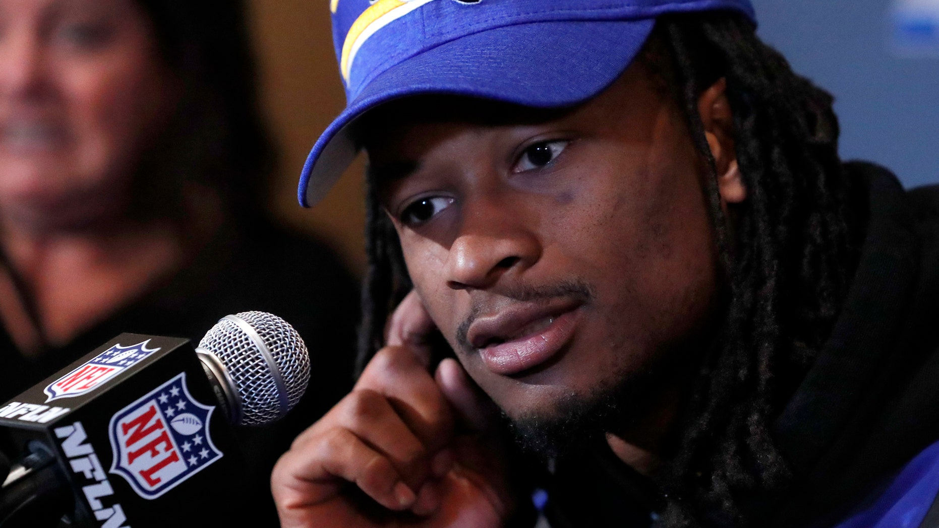 Los Angeles Rams running back Todd Gurley listens to question during a news conference Tuesday, Jan. 29, 2019, in Atlanta, ahead of the NFL Super Bowl 53 football game (AP Photo/John Bazemore)