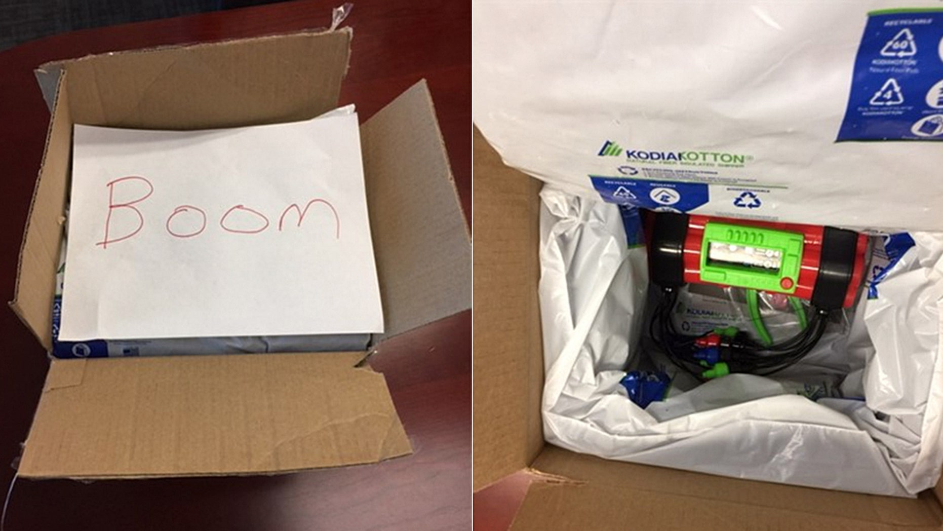 "The toy bomb was insulated with plastic packaging and contained a red cylinder-shaped object with protruding wires, along with a handwritten note with the word ""boom."""