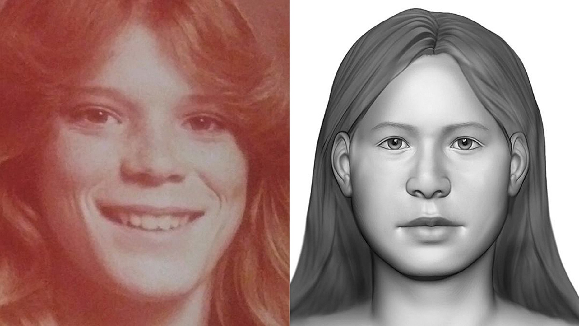 Tracey Hobson, seen here, was 20 years old and living in Anaheim, Calif., when she disappeared 31 years ago. Remains found two months after her disappearance were identified as Hobson through DNA and forensic genealogy. Investigators trying to identify the remains released this composite image in 2017.