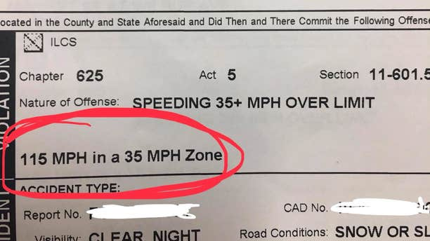 An Ilinois woman was arrested and ticketed on Sunday, Jan. 27, 2019, for going 80 miles per hour over the speed limit.