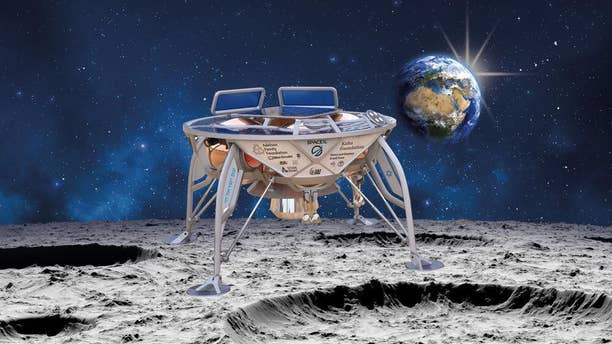 An artist's impression of the Beresheet spacecraft on the lunar surface.