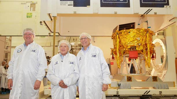 (From left) IAI Space Division General Manager Opher Doron; SpaceIL President Morris Kahn; and SpaceIL CEO Ido Anteby.